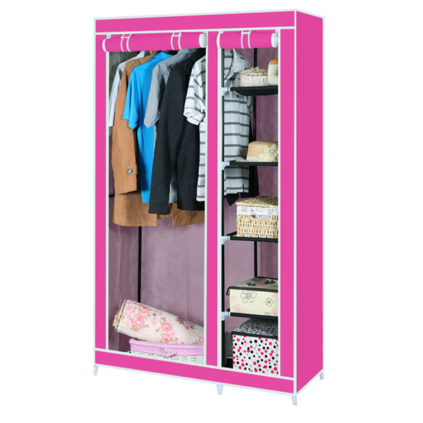 Dual Partition Canvas Wardrobe - Pink