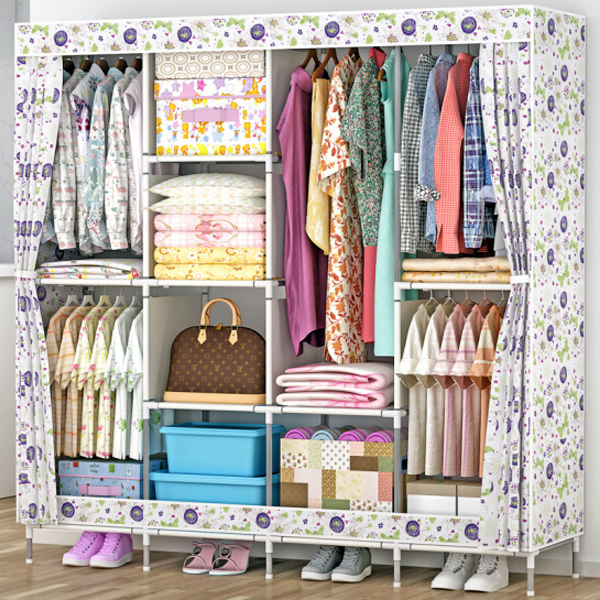 Four Partition Large Canvas Wardrobe - Printed