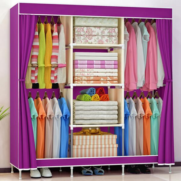 Hanging Three Partition Canvas Wardrobe - Purple