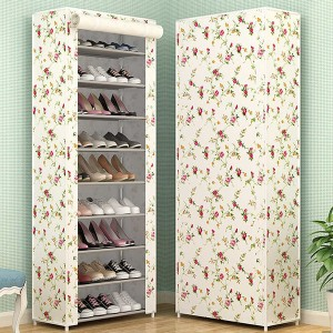 Ten Layered Colorful Floral Printed Canvas Shoe Rack