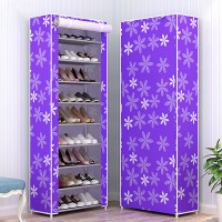 Nine Layered Floral Printed Canvas Shoe Rack