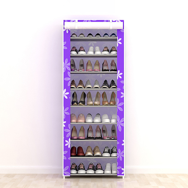 Ten Layered Floral Printed Canvas Shoe Rack