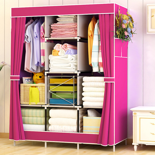 Dustproof Three Partition Quality Canvas Wardrobe - Pink