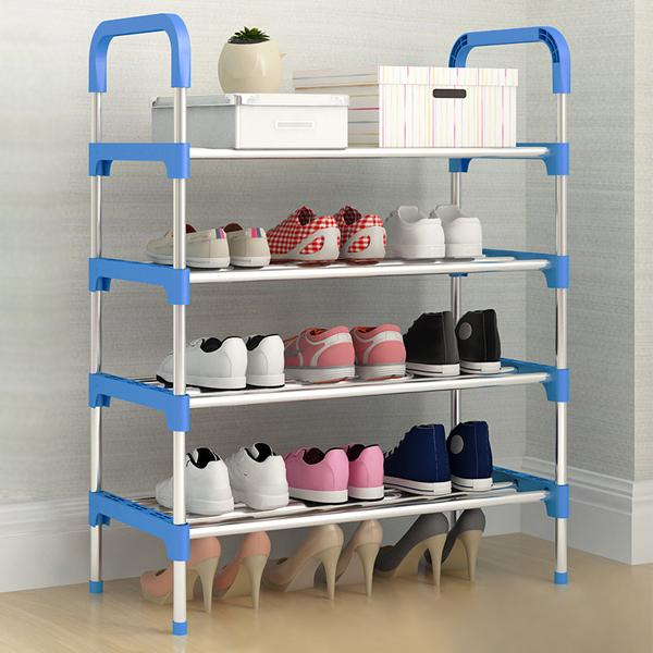 Four Storey Dust Proof Shoe Rack - Blue