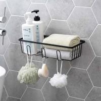Bathroom Wall Mounted Storage Rack Organizer Holder Basket Black