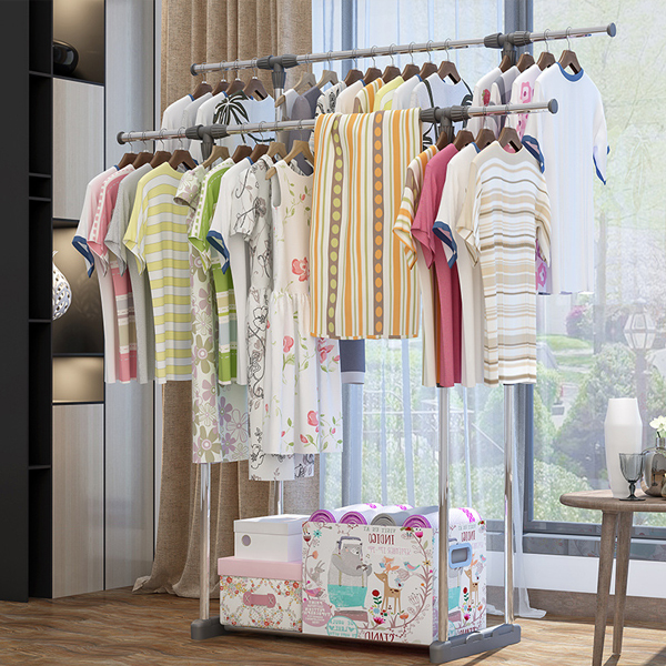 Double Stand High Quality Dress Organizing Rack - Grey