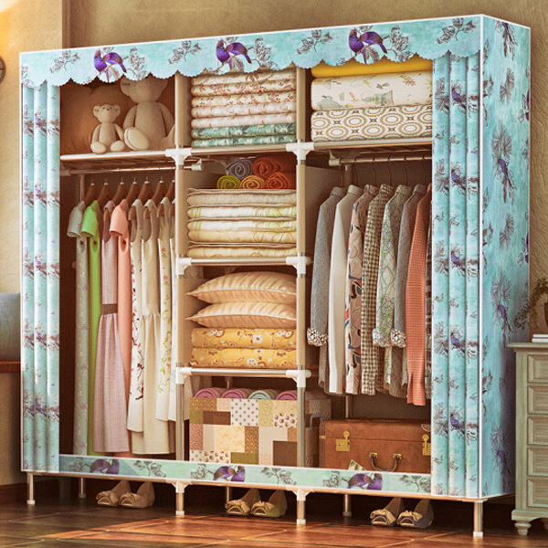 Scalloped Printed Eight Partition Wardrobe - Blue