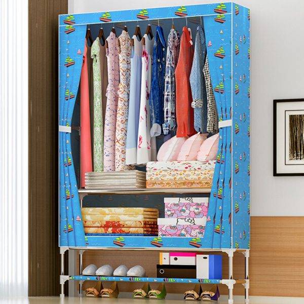 Printed Canvas Wardrobe With Shoe Rack - Sea
