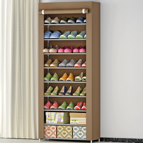 Plain Brown Multi-Layered Canvas Shoe Rack
