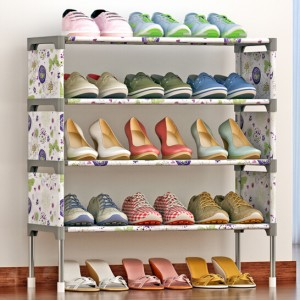 Four Layer Butterfly Prints Canvas Shoe Rack