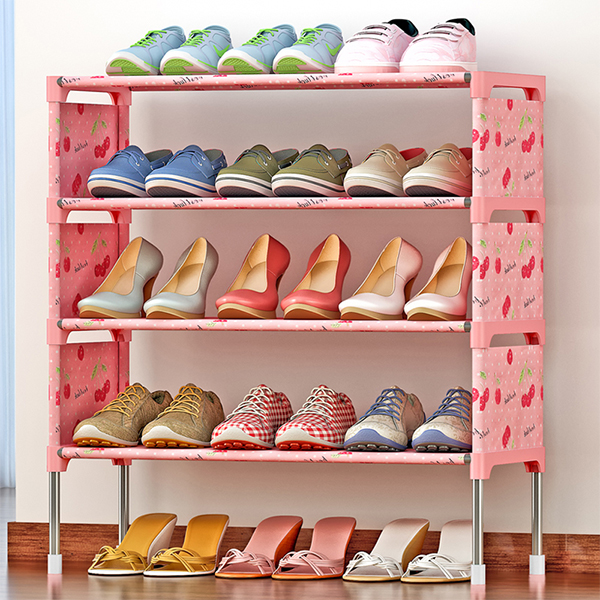 Four Layer Cherry Prints Canvas Shoe Rack