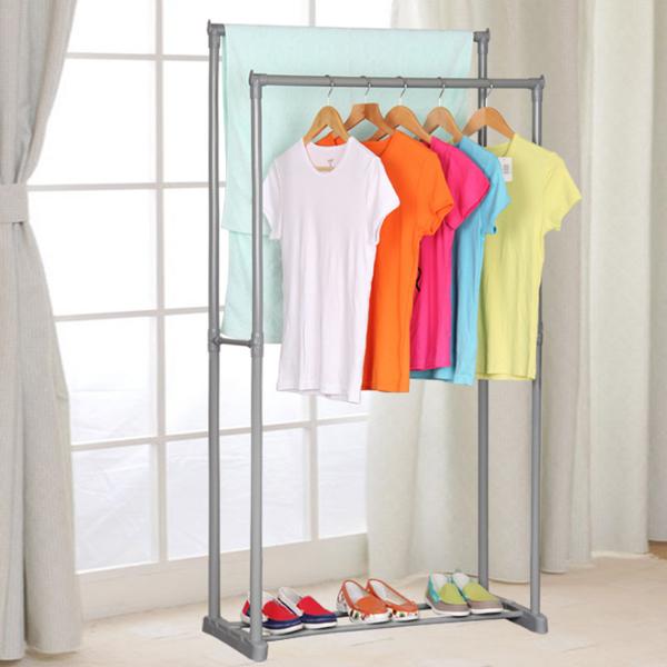 Double Stand Grey Pole Floor Hanger