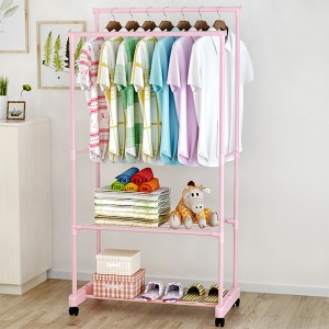 Wide Dual Sided Pink Pole Floor Hanger