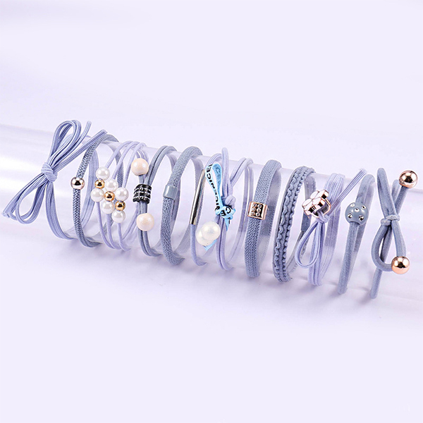 Pearl Decorated Elastic Flexible Hair Bands Set - Blue