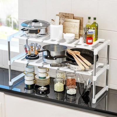 Quality Two Storey Kitchen Rack - White