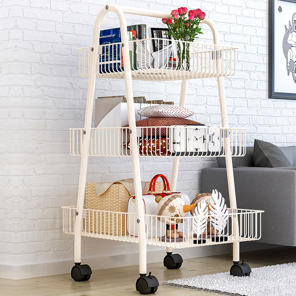 Three Storey Movable Steel Trolley - White
