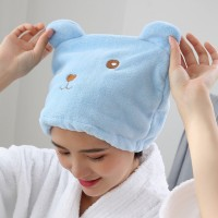 Hair Dryer Polyester Women After Bath Towel Cap - Blue