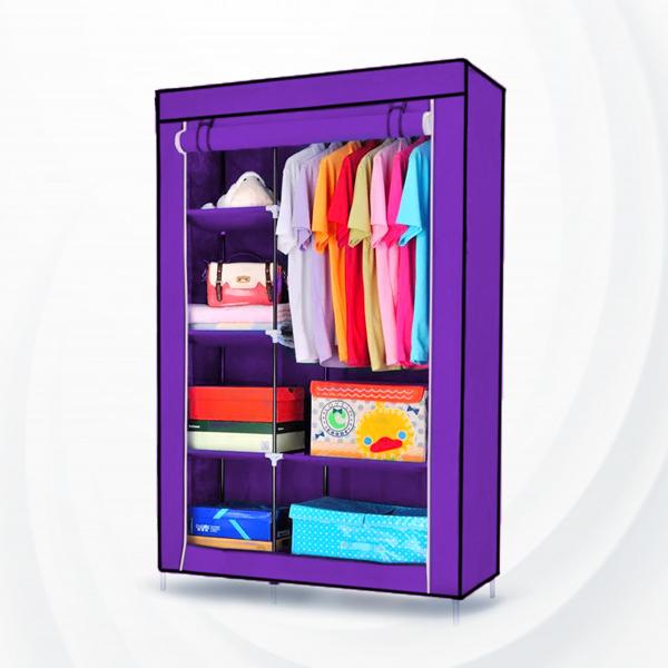 Roller Up Zipper Creative Bedroom Wardrobe - Purple