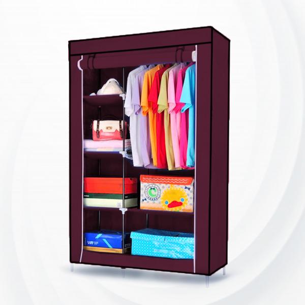 Roller Up Zipper Creative Bedroom Wardrobe - Burgundy
