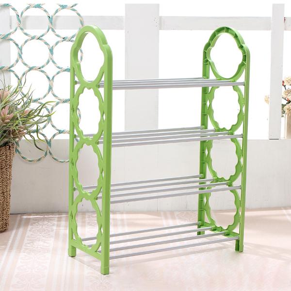 Four Layered Creative Plastic Shoe Rack - Green