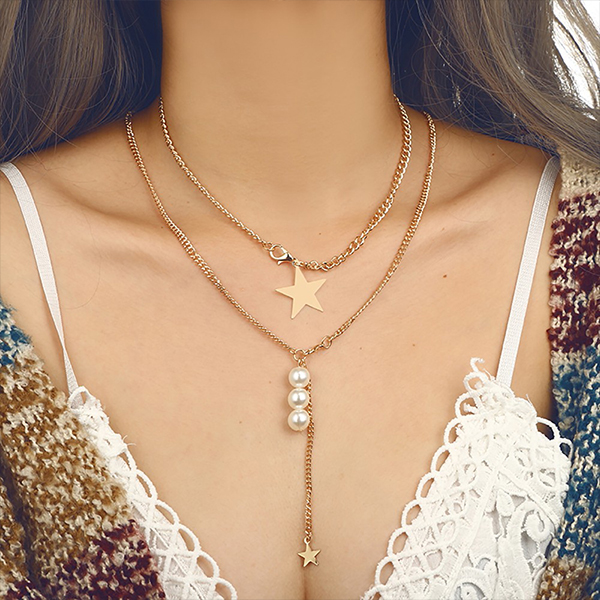 Pearl Gold Plated Star Pendant Necklace