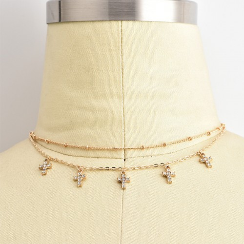 Gold Plated Crystal Chain Necklace