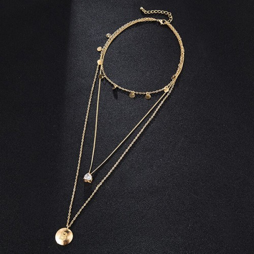 Gold Plated Triple Layered Pendant Necklace