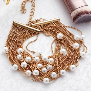 Gold Plated Pearl Decoration Choker Necklace