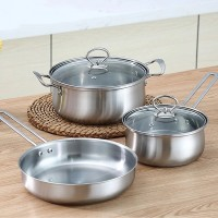 Three Pieces Cookware Stainless Steel Pots With Frying Pan