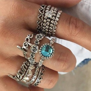 Eleven Pieces Boho Engraved Rings Set