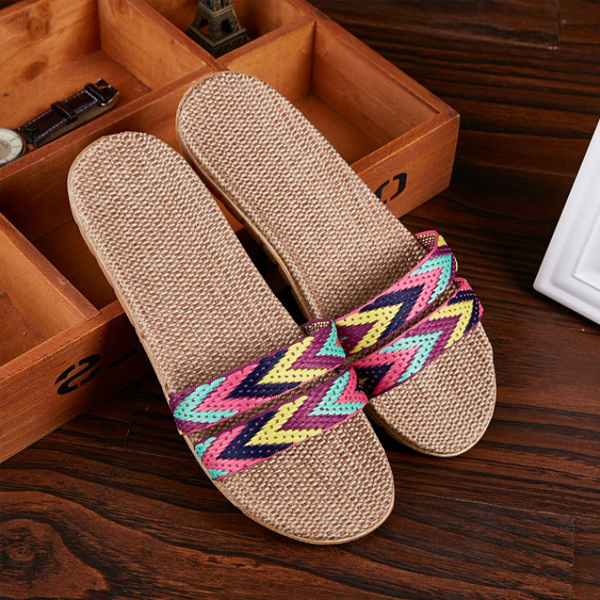 Flat Beach Wear Canvas Casual Slippers - Multicolor