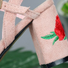 Embroidery Heel Canvas Strapped Sandals - Pink
