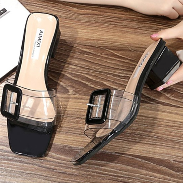 Buckle Transparent Midi Heel Sandals - Black