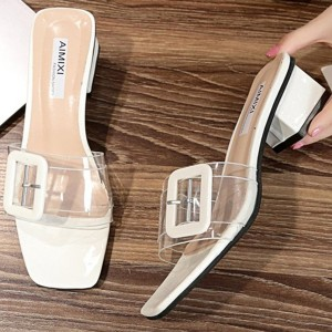 Buckle Transparent Midi Heel Sandals - White