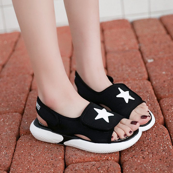 Star Patched Wrapped Casual Sandals - Black