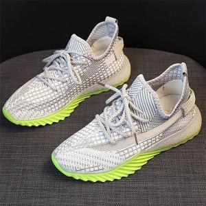 Mesh Pattern Rubber Sole Sports Sneakers - Gray