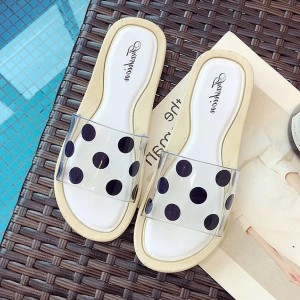 Jelly Summer Collection Polka Dots Flat Sandals - White