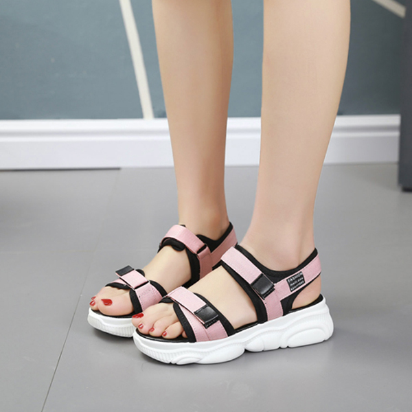 Canvas Velcro Closure Platform Summer Sandals - Pink
