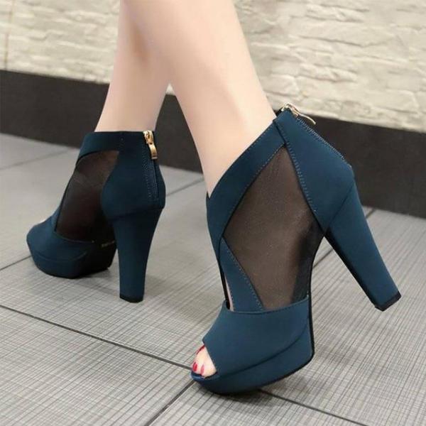 Cross Strap Fish Mouth High Heel Sandals - Blue