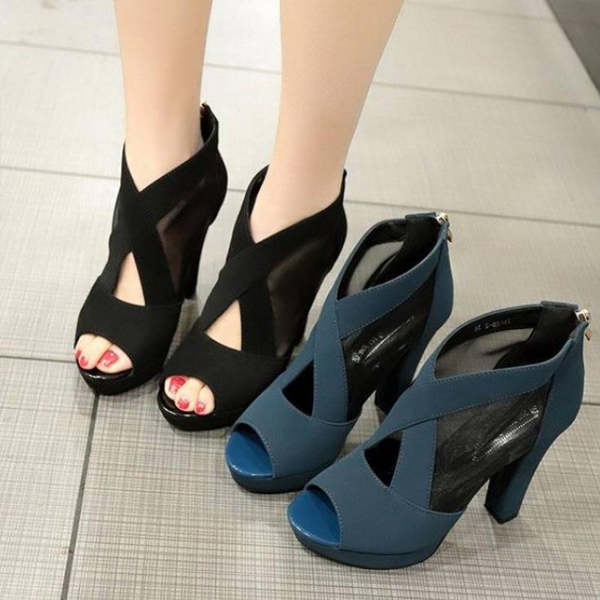 Cross Strap Fish Mouth High Heel Sandals - Blue