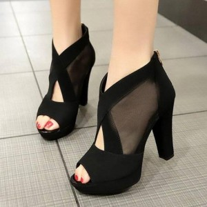 Cross Strap Fish Mouth High Heel Sandals - Black