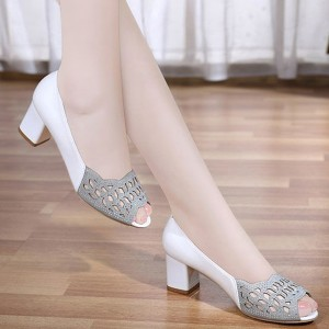 Hollow Fish Mouth Midi Sole Party Wear Sandals  - White