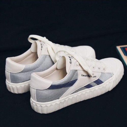 Flat Sports Wear Summer Laced Up Sneakers - White
