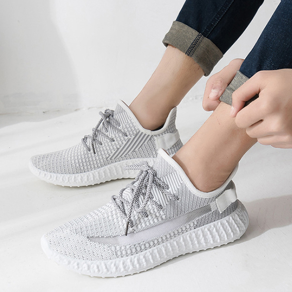 Breathable Mesh Canvas Soft Sports Wear Sneakers - Grey