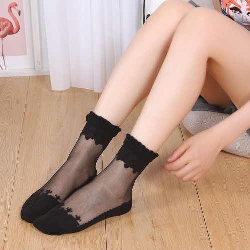 Borders Pattern Mesh Elegant Female Socks - Black