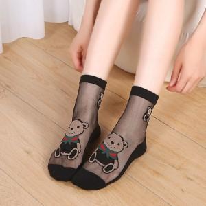 Bear Printed Mesh Pattern Elegant Female Socks - Black