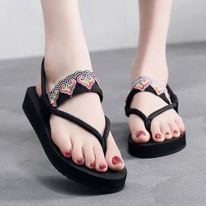 Bohemian String Strap Beachwear Summer Sandals - Black
