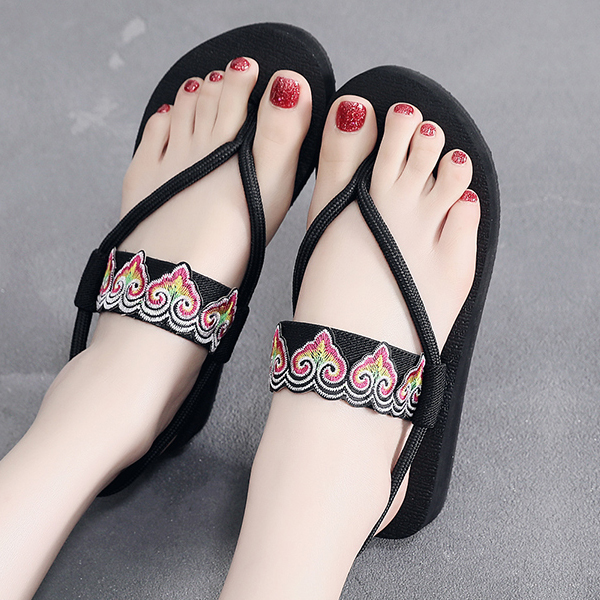 Bohemian String Strap Beachwear Summer Sandals - Black