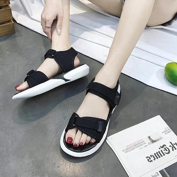 Strap Velcro Closure Rubber Sole Summer Sandals - Black