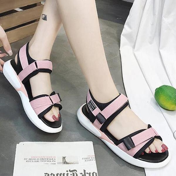 Strap Velcro Closure Rubber Sole Summer Sandals - Pink